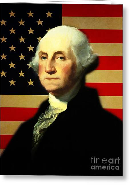 4th July Digital Art Greeting Cards - President George Washington v3 Greeting Card by Wingsdomain Art and Photography