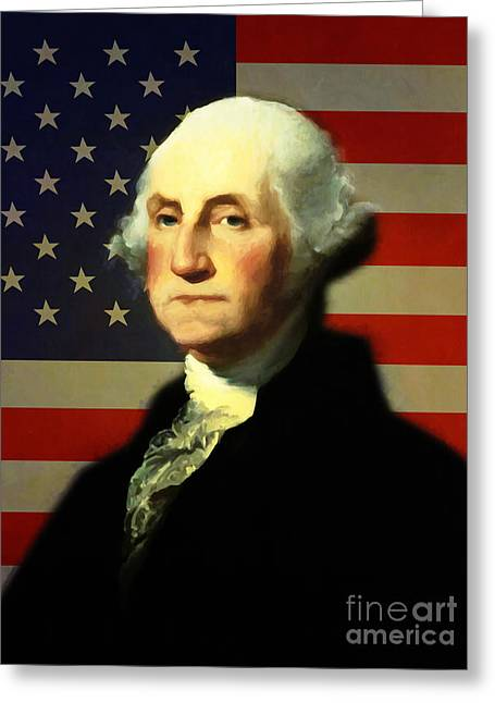 President George Washington V4 Greeting Card by Wingsdomain Art and Photography