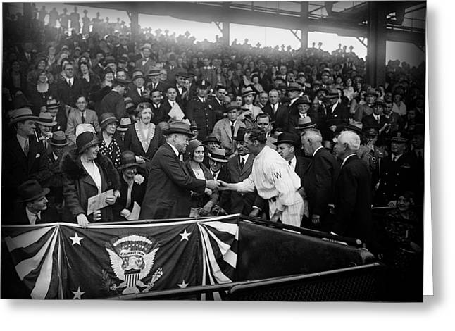 Herbert Hoover Greeting Cards - President Herbert Hoover and Baseball Great Walter Johnson 1931 Greeting Card by Mountain Dreams