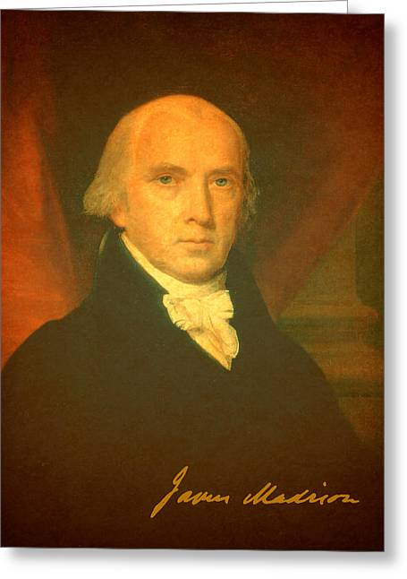 Signature Greeting Cards - President James Madison Portrait and Signature Greeting Card by Design Turnpike