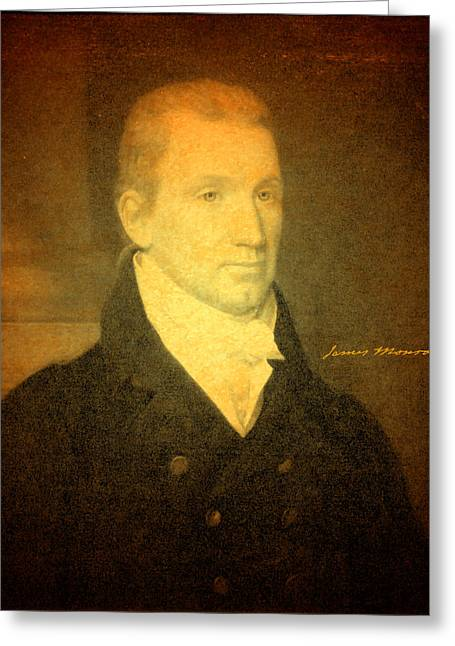 Signature Mixed Media Greeting Cards - President James Monroe Portrait and Signature Greeting Card by Design Turnpike
