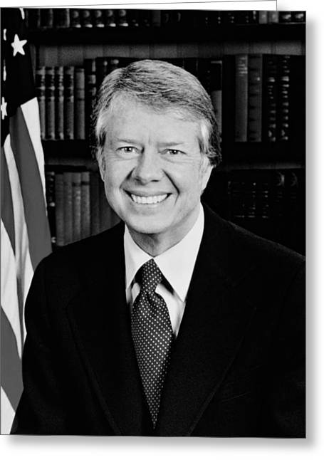 Democratic Party Greeting Cards - President Jimmy Carter  Greeting Card by War Is Hell Store