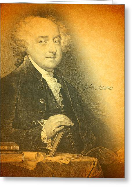 President Adams Greeting Cards - President John Adams Portrait and Signature Greeting Card by Design Turnpike