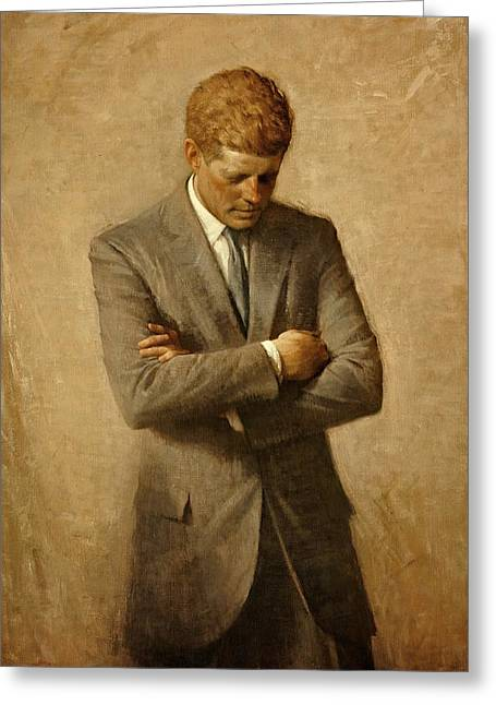 Beach House Paintings Greeting Cards - President John F. Kennedy Official Portrait by Aaron Shikler Greeting Card by Movie Poster Prints