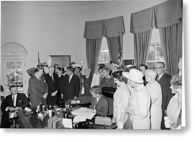 President John F. Kennedy Signing Greeting Card by National Archives