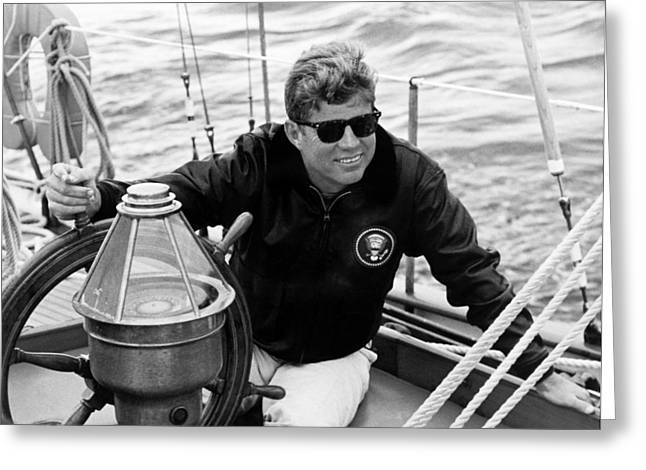 Democrat Photographs Greeting Cards - President John Kennedy Sailing Greeting Card by War Is Hell Store
