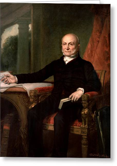 July Paintings Greeting Cards - President John Quincy Adams  Greeting Card by War Is Hell Store