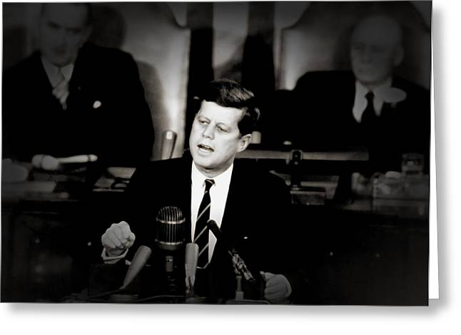 Charismatic Greeting Cards - President Kennedy Addressing Congress 1961 Greeting Card by Mountain Dreams
