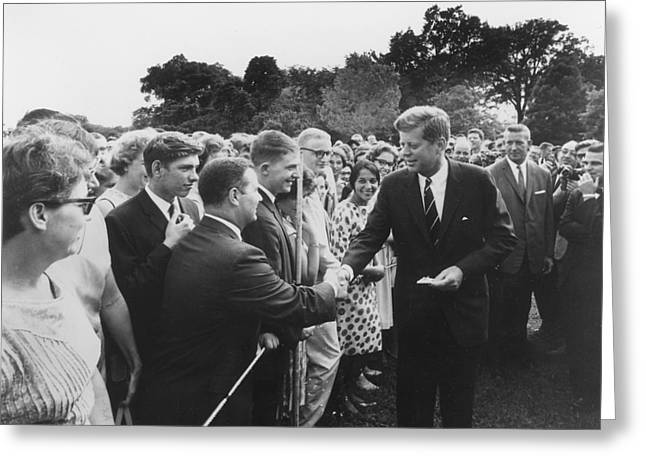 President Kennedy Greets Peace Corps Greeting Card by National Archives