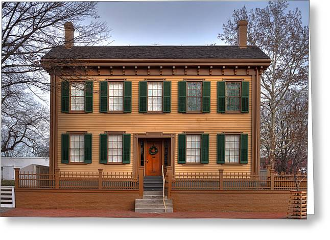 Springfield Greeting Cards - President Lincoln Home Springfield Illinois Greeting Card by Steve Gadomski