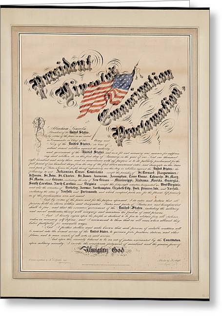 Proclamation Greeting Cards - President Lincoln s emancipation proclamation Greeting Card by Celestial Images