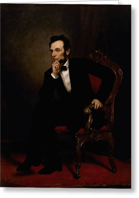 Politicians Paintings Greeting Cards - President Lincoln  Greeting Card by War Is Hell Store