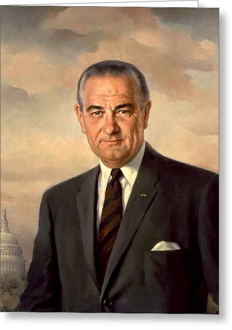 Democratic Party Greeting Cards - President Lyndon Johnson Painting Greeting Card by War Is Hell Store