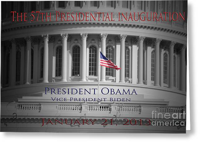 Vice President Biden Greeting Cards - President Obama Inauguration Greeting Card by Jost Houk