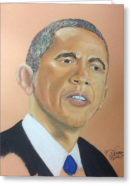 President Pastels Greeting Cards - President Obama Greeting Card by Kim Lagana