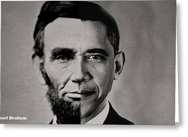 Barack Greeting Cards - President Obama Meets President Lincoln Greeting Card by Michael Braham
