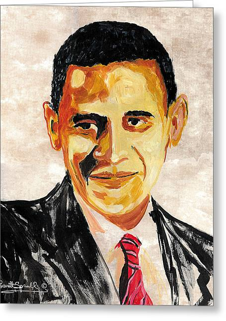 Obama Portrait Mixed Media Greeting Cards - 44th President of the United States of America - Barack Obama - 2008 Greeting Card by Everett Spruill