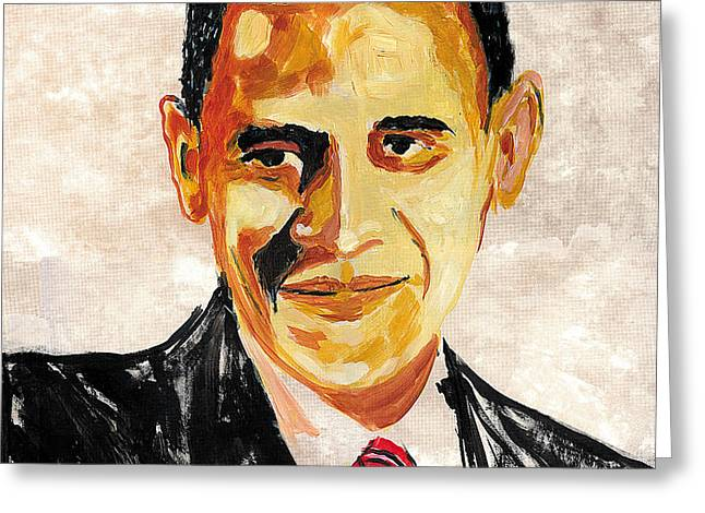 Obama Portrait Mixed Media Greeting Cards - 44th President of the United States of America - Barack Obama Greeting Card by Everett Spruill