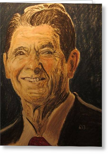 President Pastels Greeting Cards - President Reagon Greeting Card by John Brewer