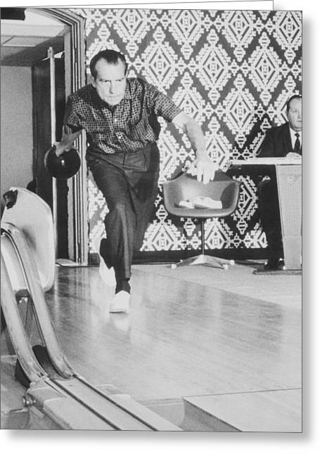Nixon Greeting Cards - President Richard Nixon Bowling At The White House Greeting Card by War Is Hell Store