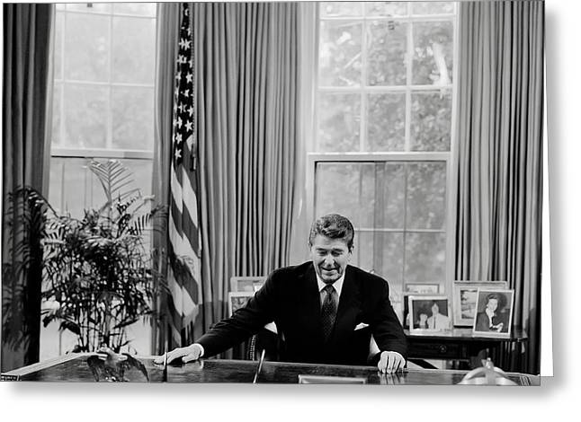 Oval Office Greeting Cards - President Ronald Reagan Greeting Card by Mountain Dreams