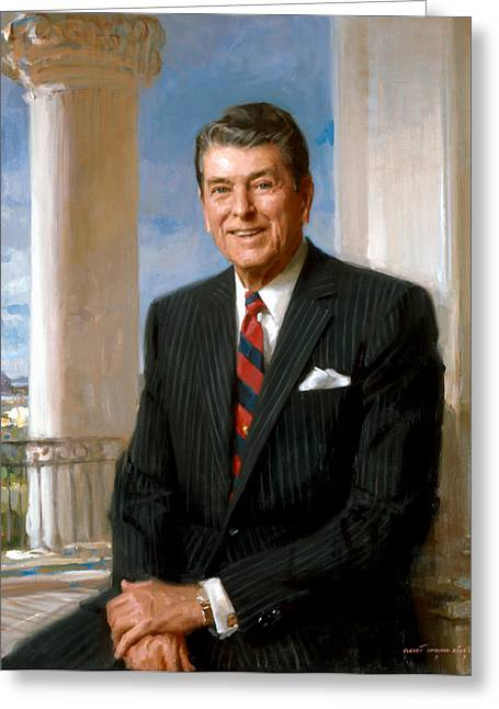 Governor Greeting Cards - President Ronald Reagan Official Portrait Greeting Card by War Is Hell Store