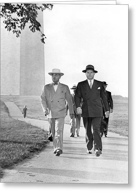 President Truman On A Walk Greeting Card by Underwood Archives