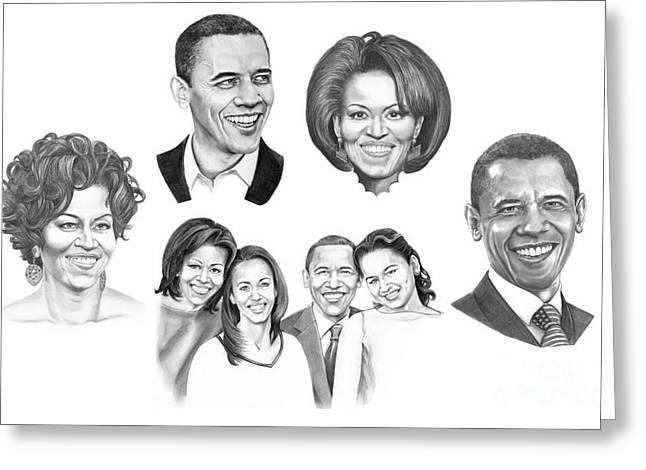 Michelle Obama Drawings Greeting Cards - Presidential Greeting Card by Murphy Elliott