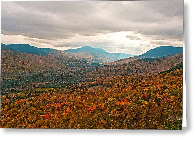 Munroe Falls Greeting Cards - Presidential Range in Autumn Watercolor Greeting Card by Brenda Jacobs