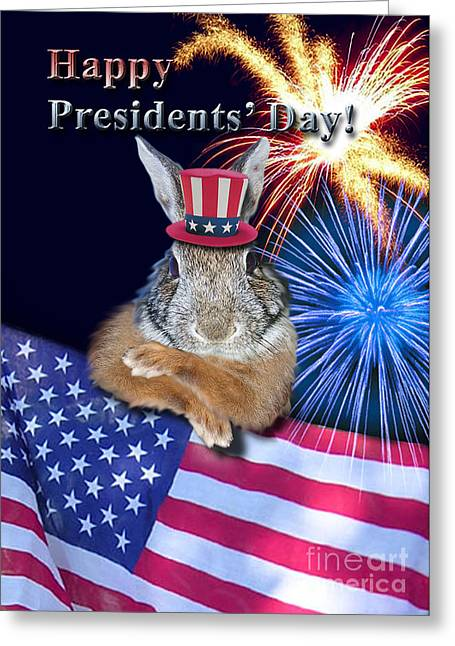 Wildlife Celebration Greeting Cards - Presidents Day Bunny Rabbit Greeting Card by Jeanette K