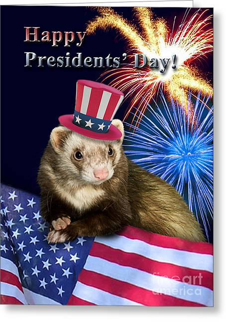 Wildlife Celebration Greeting Cards - Presidents Day Ferret Greeting Card by Jeanette K