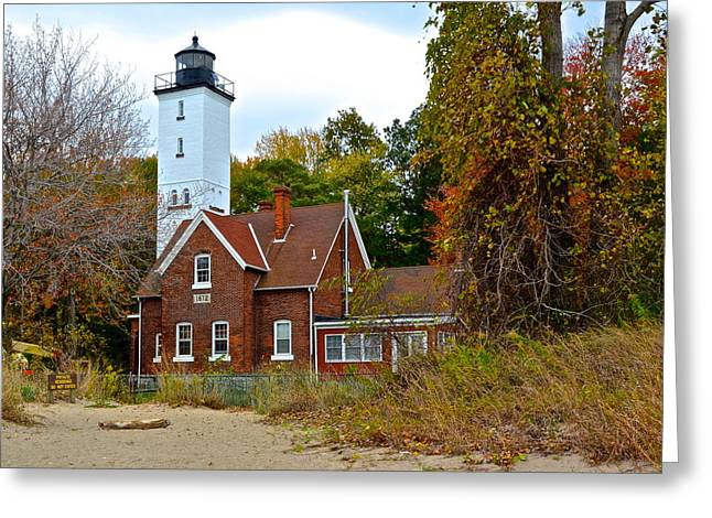 Old Maine Houses Greeting Cards - Presque Isle Lighthouse Greeting Card by Frozen in Time Fine Art Photography