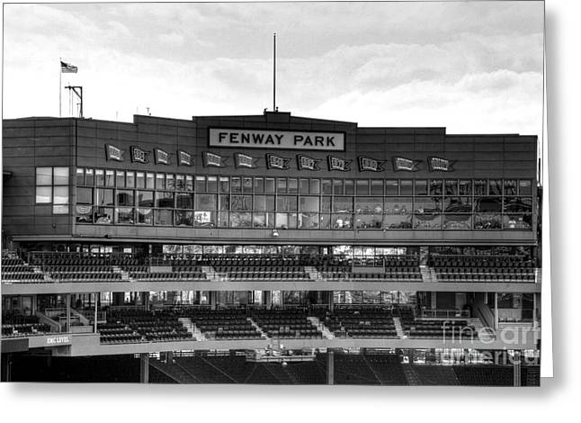 Best Sellers -  - Fenway Park Greeting Cards - Press Box Greeting Card by Jonathan Harper