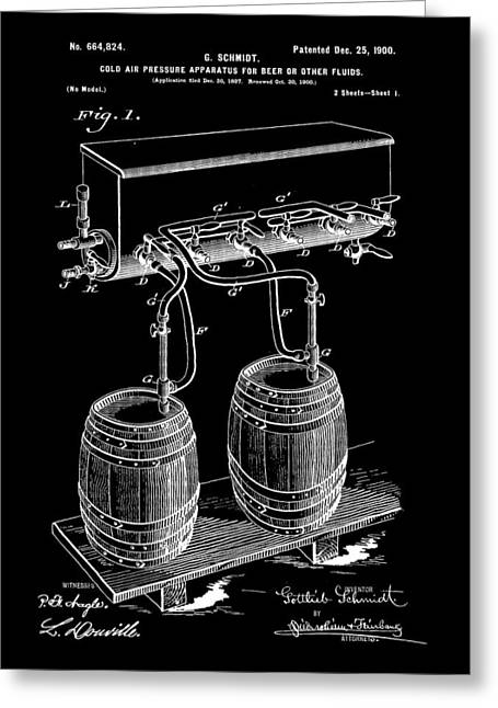 Pressure Apparatus For Beer Patent 1897 - Black Greeting Card by Stephen Younts