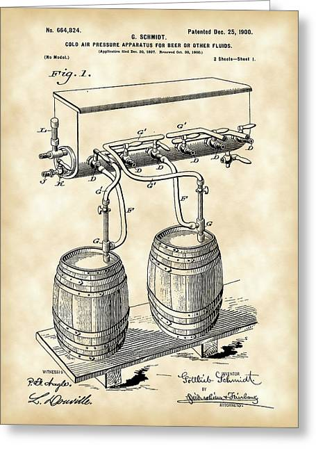 Result Greeting Cards - Pressure Apparatus for Beer Patent 1897 - Vintage Greeting Card by Stephen Younts