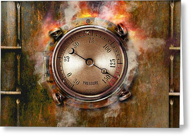 Industrial Concept Greeting Cards - Pressure Gauge And Rust Greeting Card by Mike Agliolo