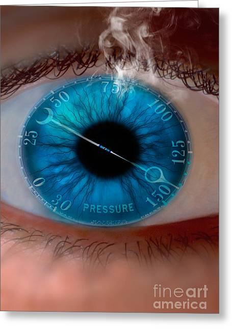 Graphic Digital Art Greeting Cards - Pressure Gauge In Eye Greeting Card by Mike Agliolo