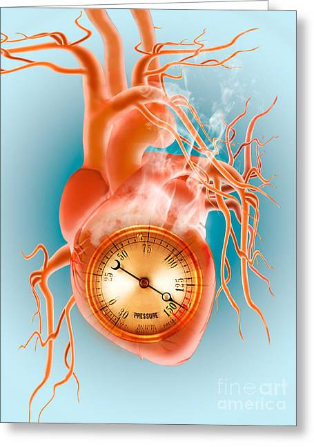 Graphic Digital Art Greeting Cards - Pressure Gauge In Heart Greeting Card by Mike Agliolo