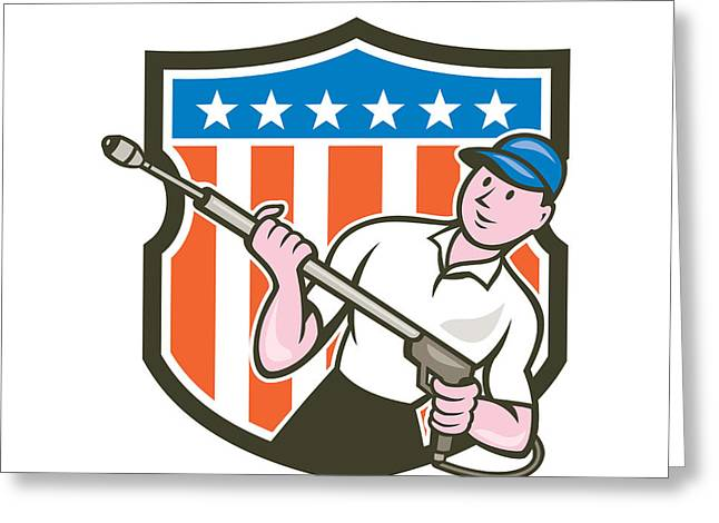 Blaster Greeting Cards - Pressure Washer Water Blaster USA Flag Cartoon Greeting Card by Aloysius Patrimonio