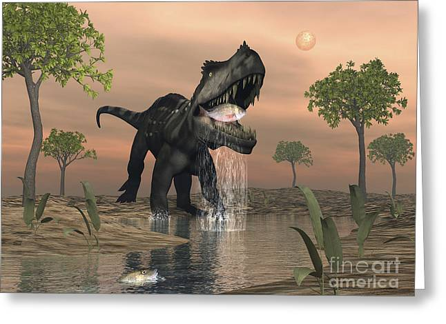 Fish Digital Art Greeting Cards - Prestosuchus Dinosaur Catches A Fish Greeting Card by Elena Duvernay