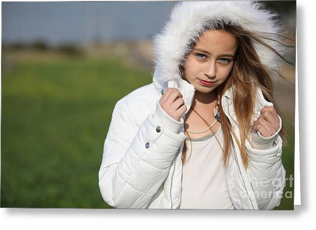 Preteen Greeting Cards - Preteen in white coat  Greeting Card by Gal Eitan