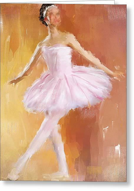 Ballet Dancers Paintings Greeting Cards - Pretty Ballerina Greeting Card by Lourry Legarde