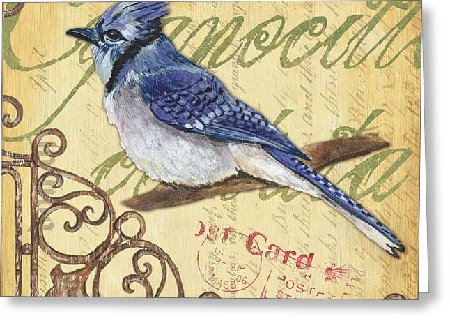 Blue Green Greeting Cards - Pretty Bird 4 Greeting Card by Debbie DeWitt