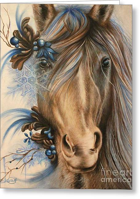Surrealism Pastels Greeting Cards - Pretty Blue Greeting Card by Sheena Pike