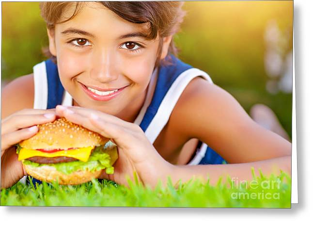 Kid Eating Snack Greeting Cards - Pretty boy eat burger outdoors Greeting Card by Anna Omelchenko
