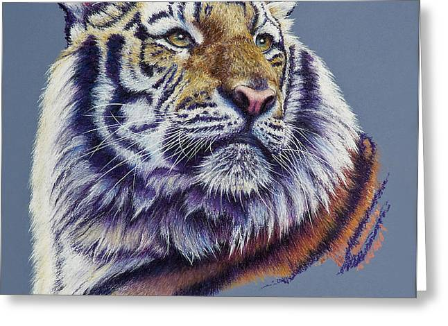 Pretty Boy Siberian Tiger Greeting Card by Mary Dove