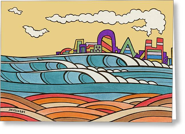 Surf City Greeting Cards - Pretty City Greeting Card by Joe Vickers