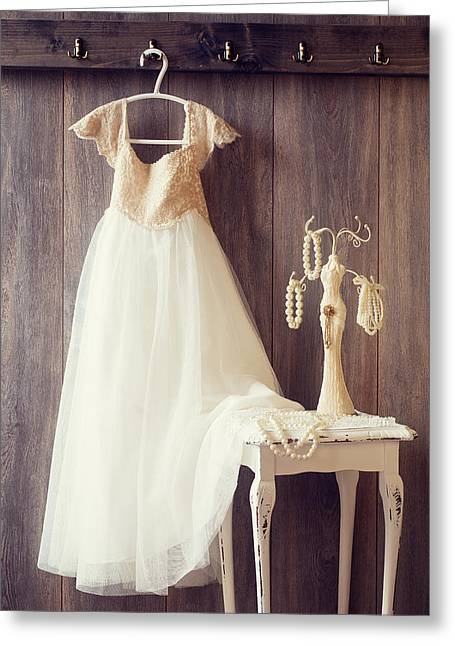 Coat Hanger Greeting Cards - Pretty Dress Greeting Card by Amanda And Christopher Elwell