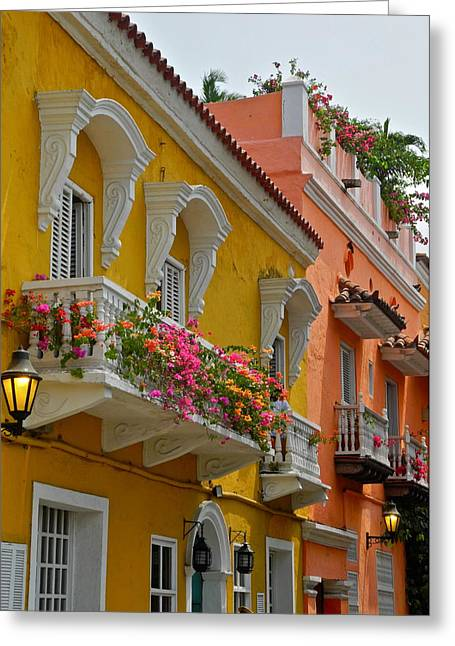 Kirsten Giving Greeting Cards - Pretty Dwellings in Old-Town Cartagena Greeting Card by Kirsten Giving