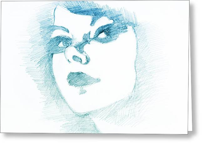 Graphite Digital Greeting Cards - Pretty Face Blue Greeting Card by Emoke Kupai